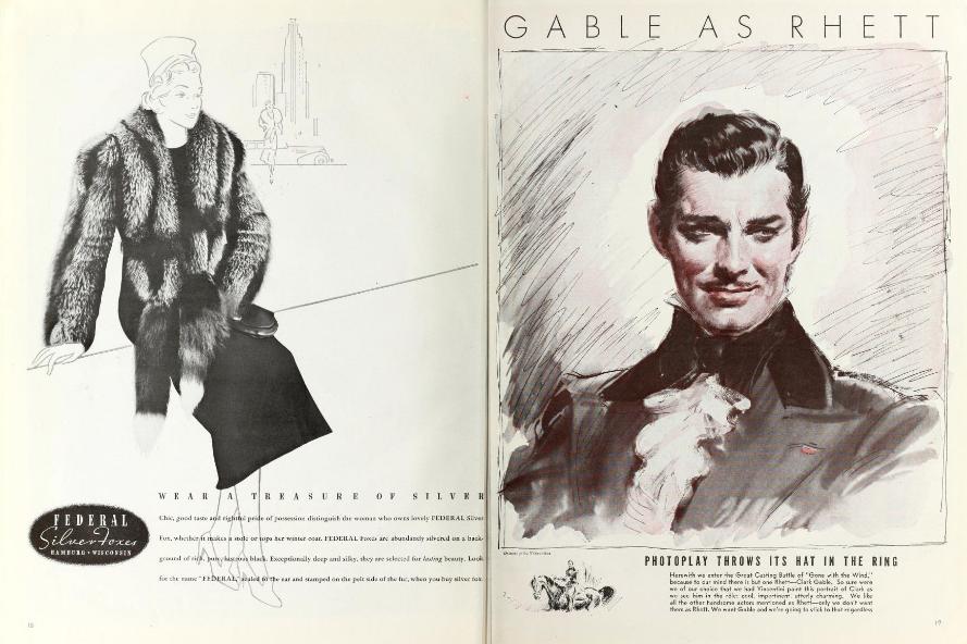 Pages 18 et 19 du numéro d'octobre 1937 du magazine Photoplay avec le portrait dessiné de Clark Gable en Rhett Butler réalisé par Vincentini.