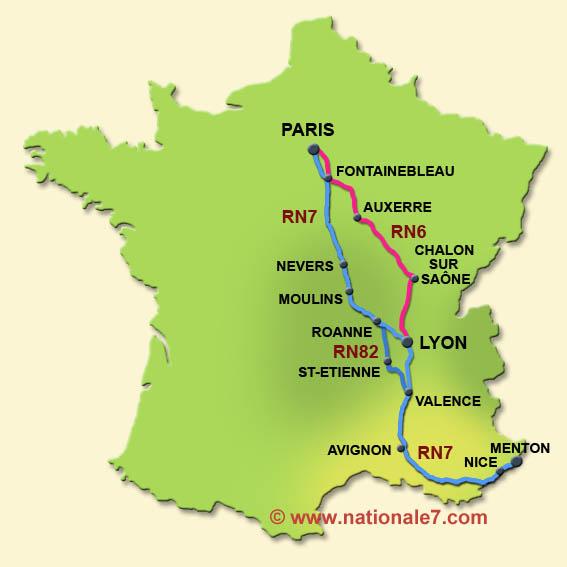 carte de france route nationale 7