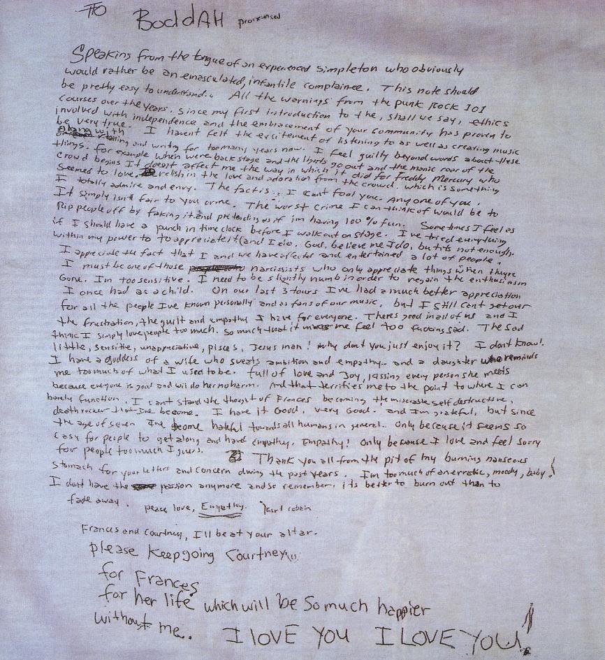 kurt cobain lettre d adieu La dernière lettre de Kurt Cobain: «Il vaut mieux brûler  kurt cobain lettre d adieu