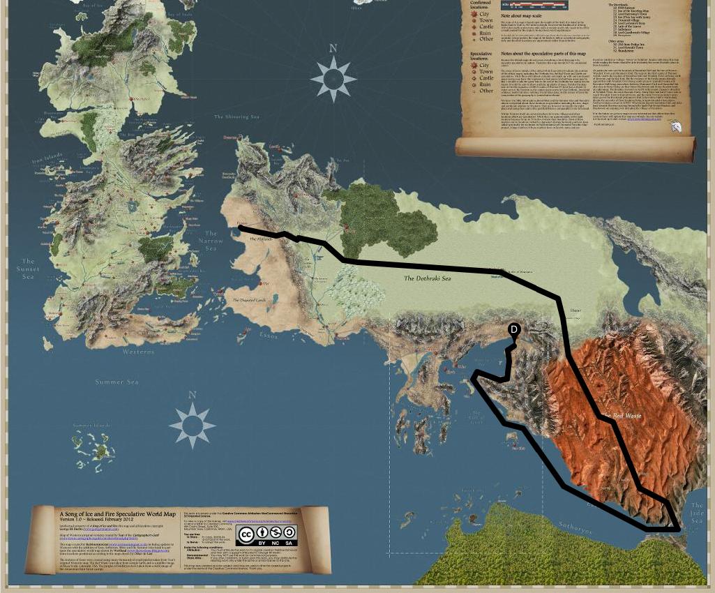 la carte interactive de game of thrones avec la localisation et le parcours de chaque. Black Bedroom Furniture Sets. Home Design Ideas