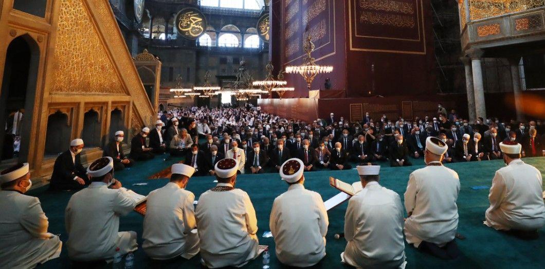 Pendant un millénaire cet édifice impérial fut la plus grande église chrétienne jamais construite. |Mustafa Kamaci/ Turkish Presidential Press service/ AFP.