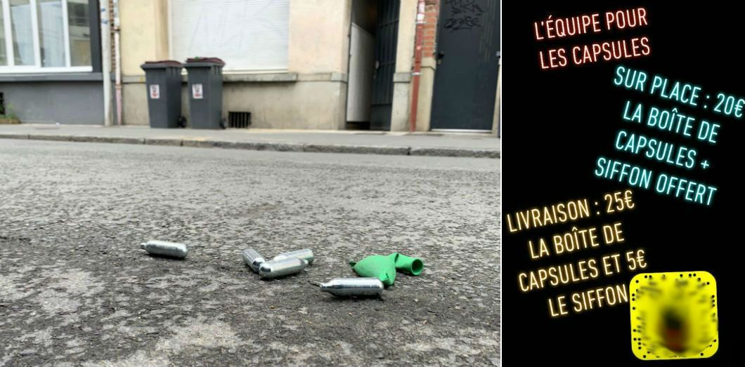 La «drogue du pauvre» s'achète sur Snatchap entre 30 centimes et un euro l'unité et ses capsules après usage finissent par joncher les pavés. |Leïla Khouiel - Capture d'écran Snapchat