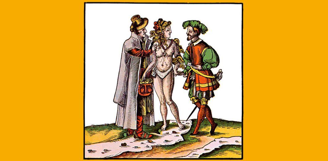 063f182bb7f Estampe allemande du XVIe siècle sur l inefficacité d une ceinture de  chasteté