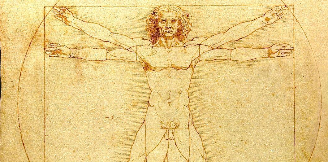 Léonard de Vinci(1452–1519), L'Homme de Vitruve (1492),Gallerie de l'Académie. |lucnix.bevia Wikimedia