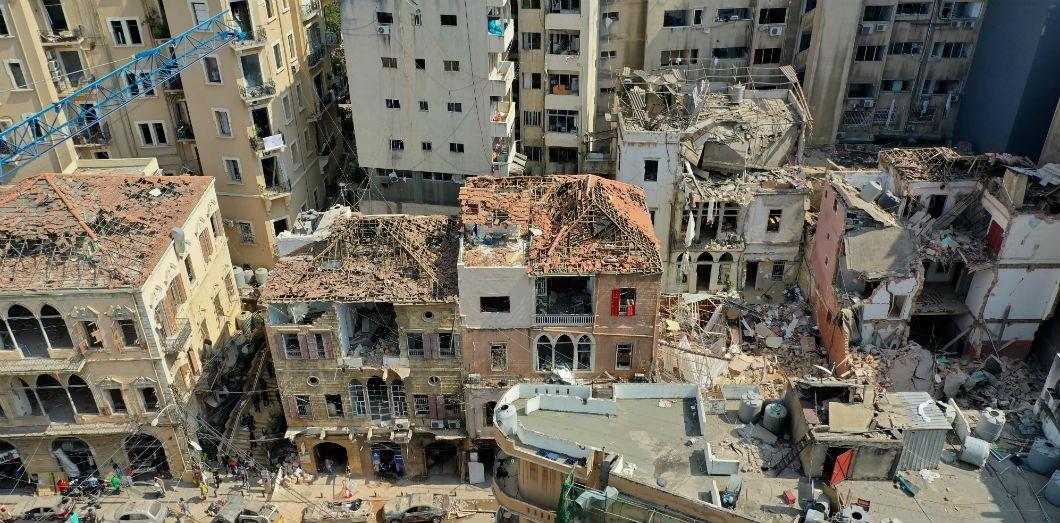 Vue aérienne du quartier deGemmayzeh, le 7 août 2020. |AFP