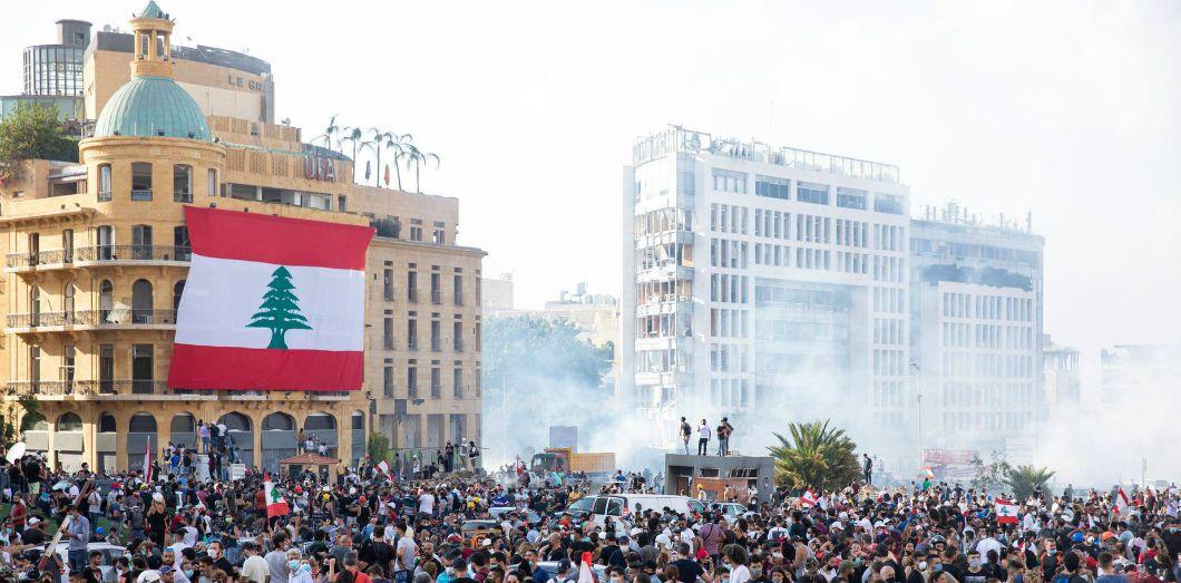 Manifestation à Beyrouth le 8 août, quatre jours après l'explosion. | David Hanna