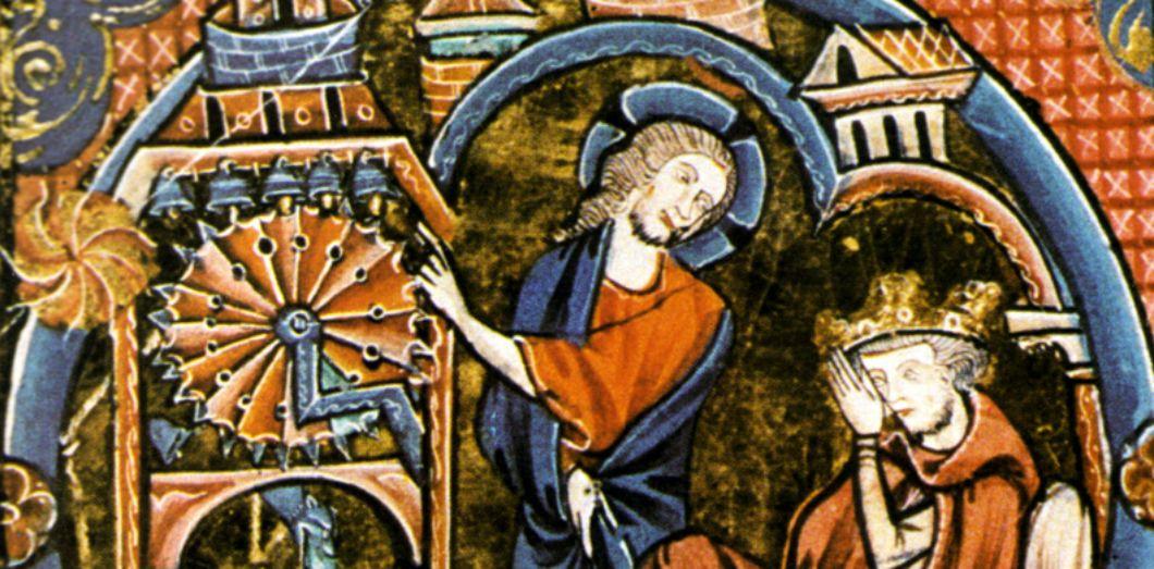 Horloge à eau et tambour hydraulique probable actionnant des clochettes (vers 1250)   Bible moralisée via Wikimedia Commons