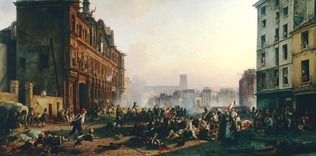 Attaque de l'Hôtel de Ville de Paris, le 28 juillet 1830,tableau de Joseph Beaume.   Château de Versailles via Wikimedia Commons