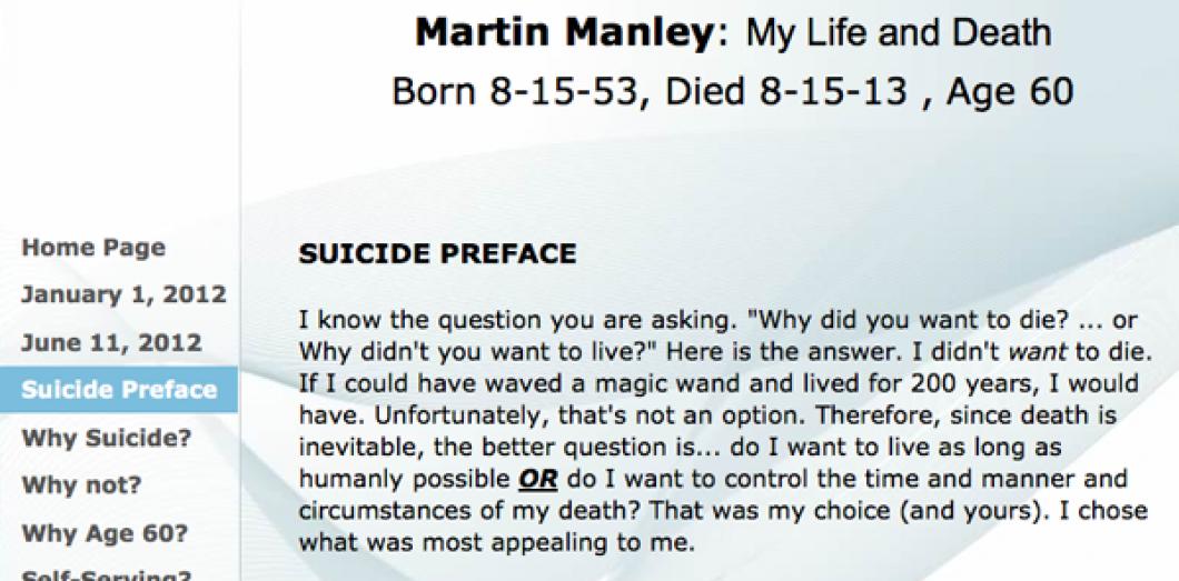 Martin Manley Crée Un Site Web Dadieu Pour Son Suicide