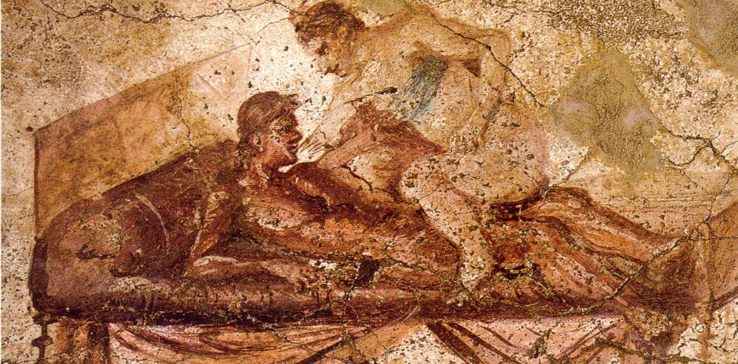 La pose du «cheval érotique», fresque du lupanar de Pompéi.|Wikimedia Commons